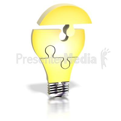 Light Bulb Puzzle Assemble PowerPoint Clip Art