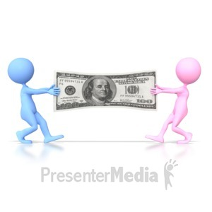 ID# 4610 - Couples Money War  - Presentation Clipart