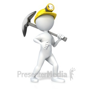 ID# 4651 - Miner With Pick Axe - Presentation Clipart