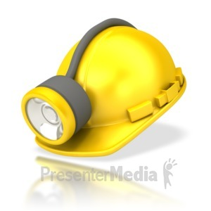 ID# 4657 - Miners Helmet with Lamp - Presentation Clipart