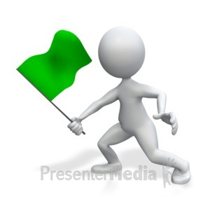 ID# 4663 - Figure Holding Green Flag - Presentation Clipart