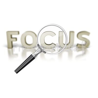 Focus Word Magnifying Glass PowerPoint Clip Art