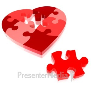 ID# 4847 - Heart Puzzle Piece Missing  - Presentation Clipart