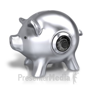 ID# 4869 - Silver Piggy Bank Lock - Presentation Clipart
