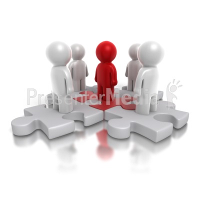 Five Way Puzzle People PowerPoint Clip Art