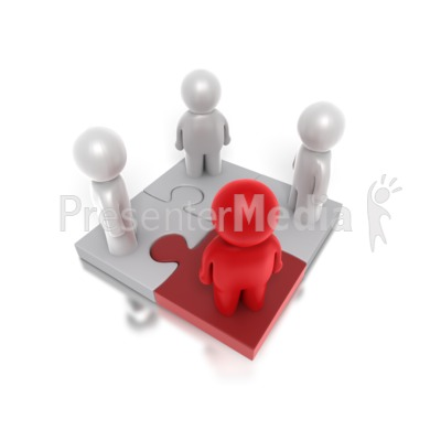 Four Way Puzzle People PowerPoint Clip Art