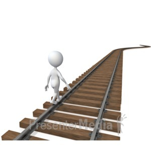 ID# 4889 - Stick Figure Walking On Tracks  - Presentation Clipart