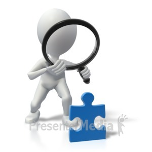 ID# 4920 - Stick Figure Magnify Solve Puzzle - Presentation Clipart