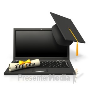 ID# 4924 - e-learning Online Graduation - Presentation Clipart