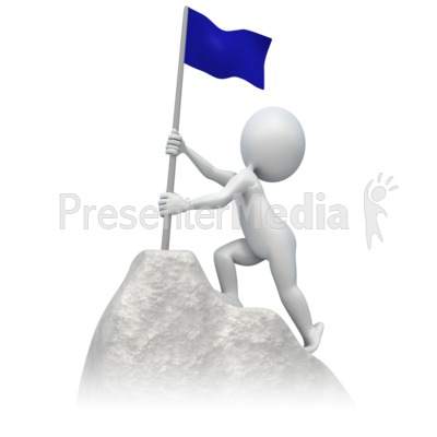 Flag At Summit PowerPoint Clip Art