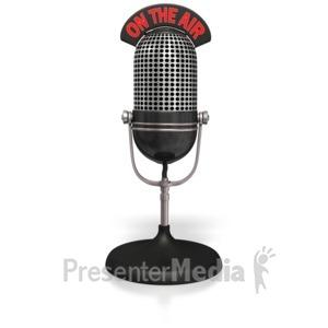 ID# 4940 - Radio Mic On The Air  - Presentation Clipart