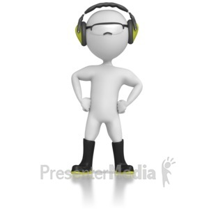 ID# 5065 - Stick Figure Wearing Safety Gear - Presentation Clipart