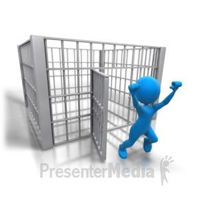 ID# 5066 - Stick Figure Released Jail - Presentation Clipart