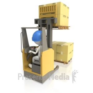 ID# 5078 - Reach Truck Stacking Pallet of Boxes - Presentation Clipart