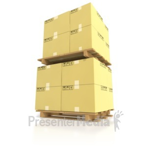 ID# 5081 - Shipping Boxes Stacked on Pallets - Presentation Clipart