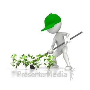 ID# 5087 - Farmer Hoeing Plants - Presentation Clipart
