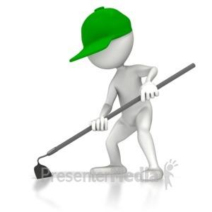 ID# 5088 - Gardener Hoeing - Presentation Clipart