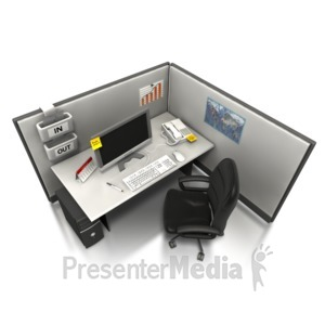 ID# 5099 - Empty Office Cubicle  - Presentation Clipart