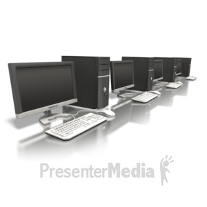 ID# 5101 - Row Of Computers - Presentation Clipart