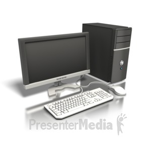ID# 5103 - One Computer Angled - Presentation Clipart