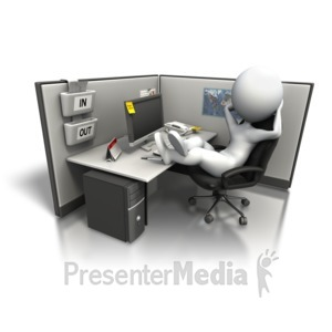 ID# 5106 - Relaxing In Office Cubicle - Presentation Clipart