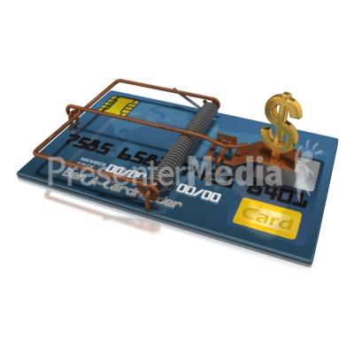 Credit Card Dollar Trap PowerPoint Clip Art