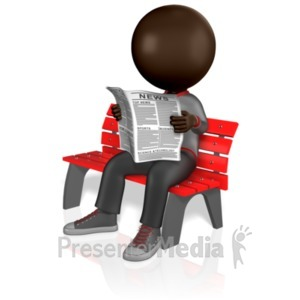 ID# 5138 - Stick Figure Reading Newspaper - Presentation Clipart