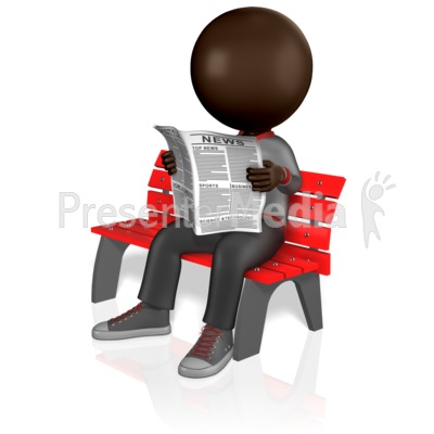 Stick Figure Reading Newspaper PowerPoint Clip Art