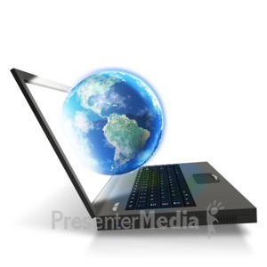 ID# 5154 - Laptop Worldwide Connected - Presentation Clipart