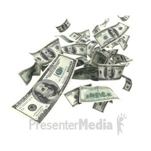 ID# 5164 - United States Dollar Falling - Presentation Clipart