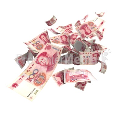 Chinese Yuan Falling PowerPoint Clip Art