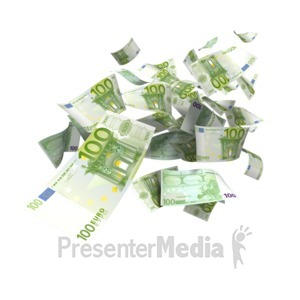 ID# 5174 - Euro Money Falling - Presentation Clipart