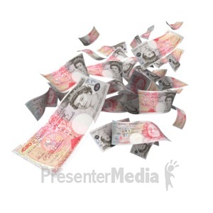 ID# 5176 - British Pounds Falling - Presentation Clipart