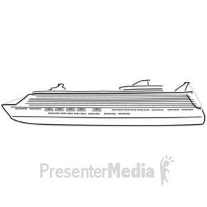 ID# 5187 - Cruise Ship Outline Drawing - Presentation Clipart