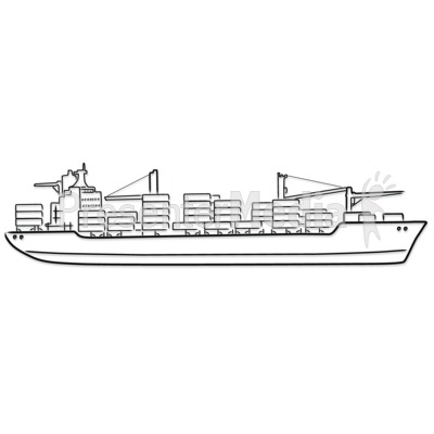 Freight Ship Outline Drawing PowerPoint Clip Art