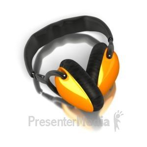 ID# 5193 - Single Pair Audio Headphones - Presentation Clipart