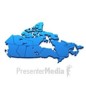 ID# 5255 - Canada Blue Map - Presentation Clipart