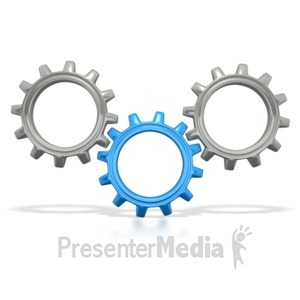 ID# 5275 - Three Gears Connected - Presentation Clipart