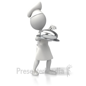 ID# 5284 - Chef With Platter - Presentation Clipart