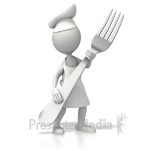 ID# 5285 - Chef With Giant Fork - Presentation Clipart
