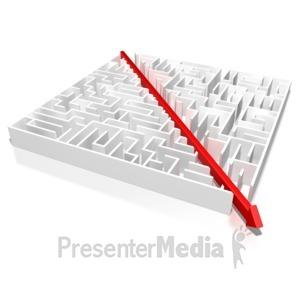ID# 5298 - Maze Split By An Arrow - Presentation Clipart