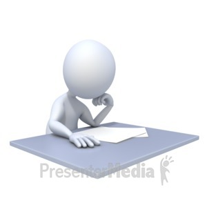 ID# 5342 - Bored Reading Paper - Presentation Clipart