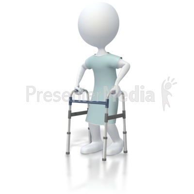 stick figure patient with walker   medical and health
