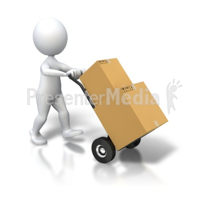 Stick Figure Dolly Delivery Boxes PowerPoint Clip Art