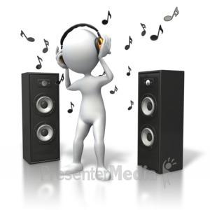 ID# 5392 - Music Vibe Headphones Speakers - Presentation Clipart