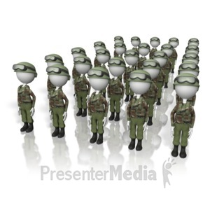 ID# 5433 - Stick Figure Army  - Presentation Clipart