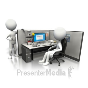 ID# 5435 - Cubicle Morning Chat - Presentation Clipart