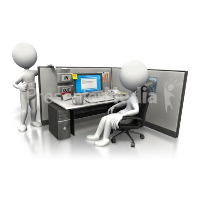 Cubicle Morning Chat PowerPoint Clip Art