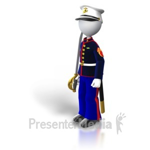 ID# 5444 - Marine Standing Holding Sword - Presentation Clipart