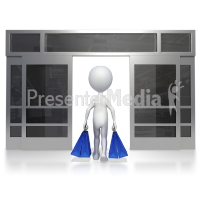 Walking Out Of Store PowerPoint Clip Art